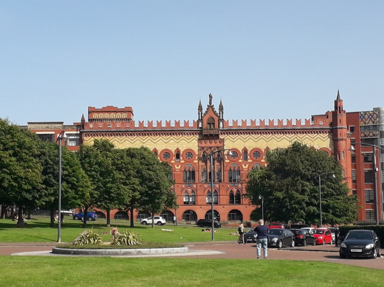 In park called Glasgow Green. View of former Carpet Factory
